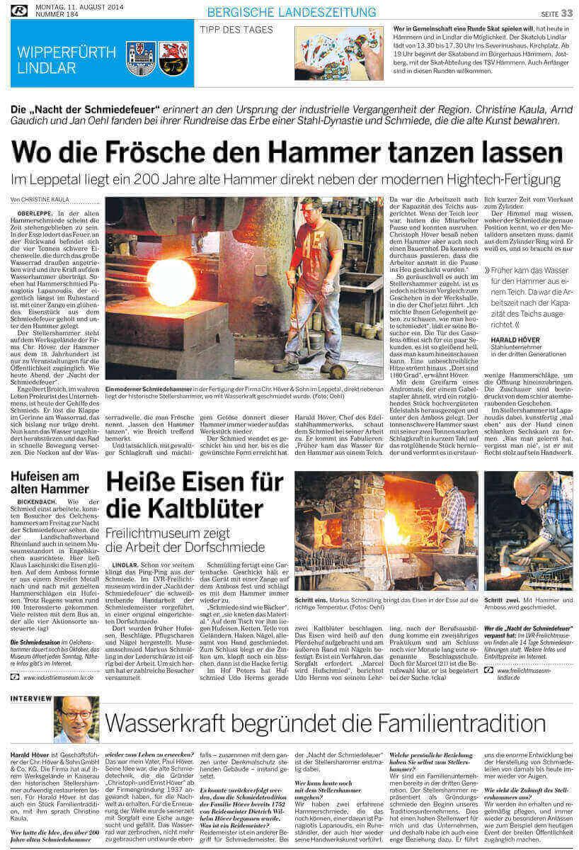 """Artikel Nacht der Schmiedefeuer 2014 2 - """"Nacht der Schmiedefeuer"""" erinnert an den Ursprung der industriellen Vergangenheit der Region."""