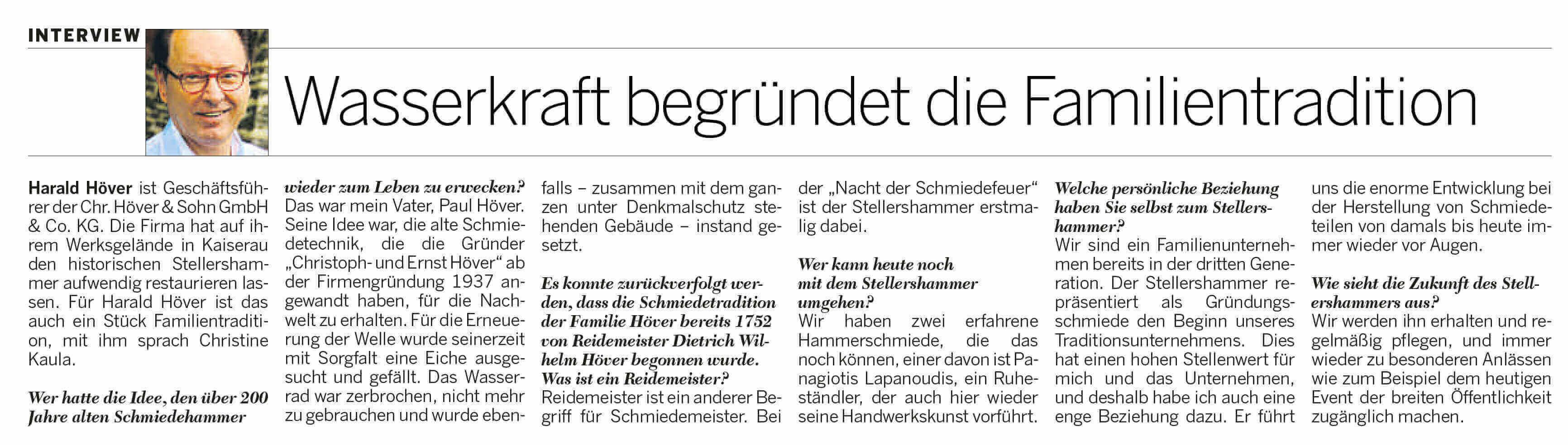 Artikel Nacht der Schmiedefeuer 2014 - 200 Jahre alter Schmiedehammer wieder zum Leben erweckt