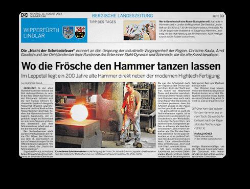 Beitrag Presse Nacht der Schmiedefeuer - Aktuelles | Leppe-Edelstahl - Chr. Höver & Sohn - NRW