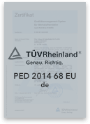 PED 2014 68 EU - Zertifizierter Produzent | Leppe-Edelstahl | Höver & Sohn - Maßgeschneiderte Produktion und Formgebung von Stahl - Lindlar | NRW